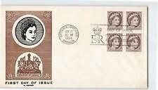 CANADA 1954 1c BLOCK OF 4 QUEEN ELIZABETH II W/ DOMINION COAT OF ARMS ON FDC