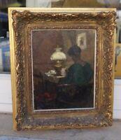 August Köhler (1881-1964) Impressionismus - Strickende Frau in Stube - signiert