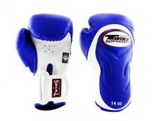 Twins Fancy Gloves BGVL-6 Blue White 10,12,14,16 oz Sparring Boxing  MMA K1