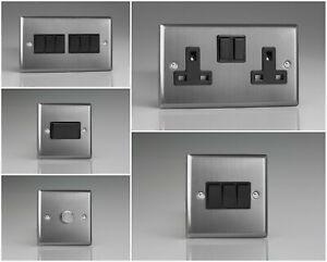 Varilight Classic Brushed Steel Range - Black Inserts & Black Switches