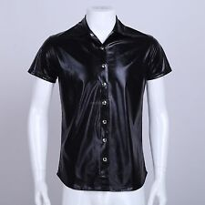 Boxers Muscle Shirt Sexy Mens Slim Patent Leather T-Shirt Clubwear Tee Tops M