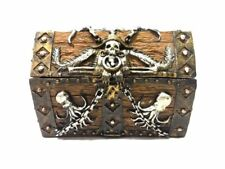 5.5 Inch Skull and Chain Pirate's Chest Jewelry/Trinket Box Figurine
