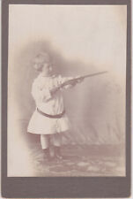 Unique Cabinet Card Little Boy with Toy Gun by Abercromby Pottstown Pennsylvania