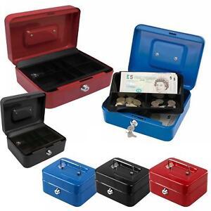 Petty Cash Money Safe Box Deposit Steel Tin Security Organiser with 2 Keys