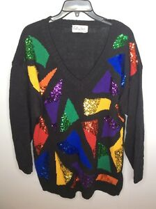 Extra Reference Point 80s 90s Sequins Color Block Unique Funky Sweater Womens M