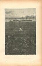 Eclairage des travaux sous-marins pose de câble par électricité GRAVURE 1884