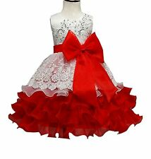 Cute Princess Flower Girl's Wedding Bridesmaid Pageant Formal Red Dress - Size 3