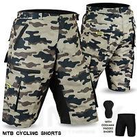 MTB Cycling Short Off Road Cycle CoolMax Padded Liner Shorts Green Camo Green