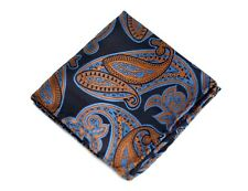 Umberto Algodon Napoli Men's Brown Orange Blue Paisley Woven Pocket Square