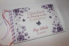 Gästebuch zur Konfirmation, Kommunion , lila - rosa