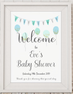 Personalised Baby Shower Welcome Poster Print Picture A4 PR47