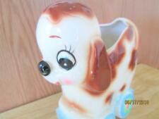 VINTAGE MADE IN JAPAN #5738 CERAMIC PUPPY ON A WAGON FLOWER PLANTER