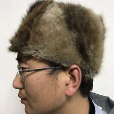 Male Female Vintage Gray Brown Real Mink Fur Hat Cap