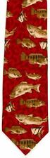 Mar Pez Corbata De Seda Hand Made Regalo Pesca Aficionado Pesca Rojo