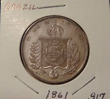 1861 BRAZIL COIN 1000 REIS  SILVER KM# 465