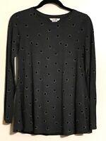 BODEN Sabrina Women's Size 4 Blouse Long Sleeve Gray Black Tan Polka Dots Flared
