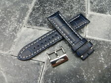 22mm Grain Leather Strap Blue Watch Band with OEM BREITLING Tang Buckle