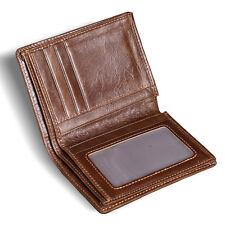 Brown Men Genuine Leather Bifold Wallet Vertical Credit ID Card Holder Purse