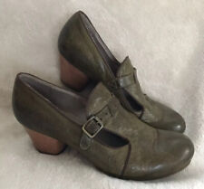 MOMA olive green leather monk strap buckle heels loafers pumps shoes 36 6
