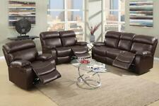 Poundex 3Pcs Espresso Bonded Leather Motion Living Room Set Reclining