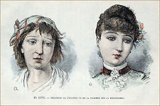 FEMME PAUVRE &  FEMME RICHE au temps de Zola - Gravure du 19e siècle