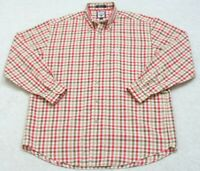 Faconnable Cotton Mens Dress Shirt Long Sleeve Mans Large White Brown Red Checks