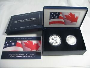 2019-W Enhanced Reverse Proof Silver Eagle Maple Leaf Pride of Two Nations Set.