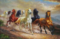 Hd Art Print Animals Eight Horses Oil painting Printed on canvas 16x24 inch P850