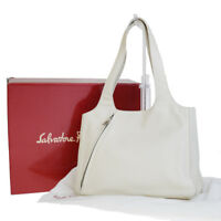 Authentic SALVATORE FERRAGAMO Logos Shoulder Bag Leather Ivory Italy 05EM945