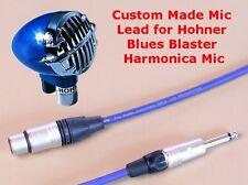 6m Mic Lead for Hohner Blues Blaster Harmonica Mic - Neutrik Plugs - Blue Cable