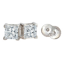 1 Carat Princess Cut in Solid 14k Real White Gold Basket Stud Screwback Earrings