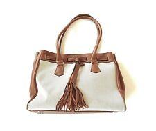JEAN LOUIS FERNANDEZ Créations tan leather and cream canvas handbag