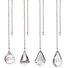 4pcs Crystal Prisms Fan Pull Chain Glass Pendant Suncatcher Ceiling Light Parts