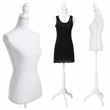 White Female Torso Mannequin Dress Form Lay Figure Display Manikin Tripod Stand
