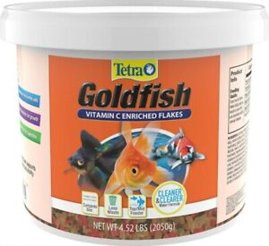Tetra TetraFin Goldfish Vitamin C Enriched Flakes foods net weight 4.52 lbs