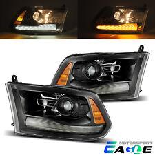 2009-2018 Dodge Ram 1500/2500/3500 Polished Black Led Drl Projector Headlights (Fits: Dodge)