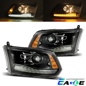 2009-2018 Dodge Ram 1500/2500/3500 Polished Black LED DRL Projector Headlights