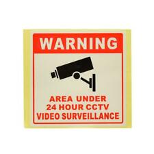 4pcs 24H CCTV Camera System Warning Sign Wall Sticker Monitoring Decal 8*8cm