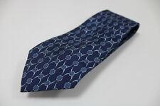cravatta tie krawatte HERMES PARIS chains blu scuro 100% seta silk soie (22)