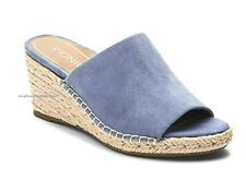 VIONIC Ladies TULUM KADYN  Espadrille Wedge Slide Sandals BLUE Sz. 9.5 WIDE  NIB