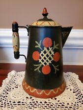 Antique Vtg Old Toleware Tin Folk Art Coffee Pot Hand Painted Rochester 8 Pt