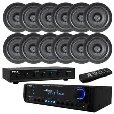 "300W Digital Home Theater Receiver System, (12) 5.25"" Ceiling Speakers/ Selector"