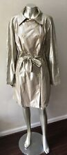 Metallic Gold Trench Belted Double Breasted Vintage 3/4 length Jacket Coat Xl 16