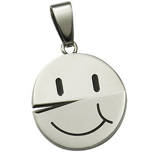 Anhänger Smiley drehbar fröhlich oder traurig Edelstahl Damen Mädchen NEU