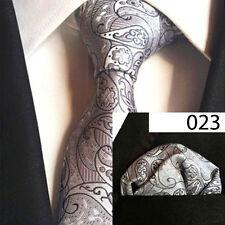 Paisley Floral Men Wide Tie & Pocket Square Set Hanky Wedding Party Handkerchief