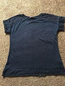 Womens M& S Pretty Navy T Shirt Top Size 12