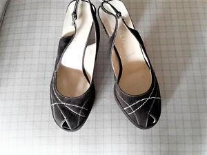 REDUCED! PRADA Platform Heels, Sz 35, Black Suede, Beige Stitching, Stunning