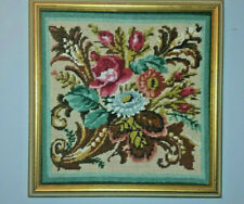 """Finished Floral Cornucopia Needlepoint in Gold Frame 16"""" x 16"""""""