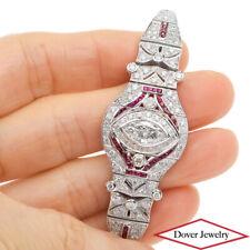 Estate Diamond 6.78ct Ruby 18K White Gold Wide Cluster Link Bracelet 28.6 Gr NR