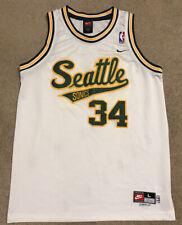Seattle Sonics #34 Ray Allen Sewn Yellow Jersey Youth Large NBA Nike Length +2